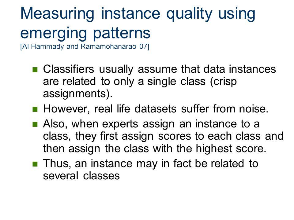 Measuring instance quality using emerging patterns [Al Hammady and Ramamohanarao 07]